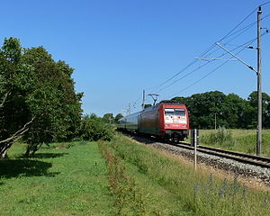 Stralsund–Rostock railway - An IC train near Ribnitz-Damgarten