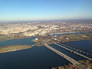 14th Street Bridges - November 2013 photo of the 14th Street Bridges with Potomac Park, the Tidal Basin and Washington Channel in the background