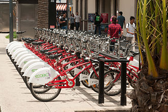 EcoBici (Mexico City) - EcoBici bicycles at a docking station