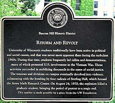 Sign near Sterling Hall commemorating fatal 1970 bomb attack