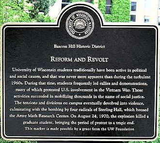 University of Wisconsin–Madison - Historical marker near Sterling Hall commemorating fatal 1970 bombing