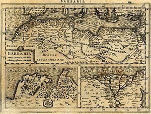 Conquest of Majorca - Map of Barbary Coast made in 1630 by Gerardus Mercator.