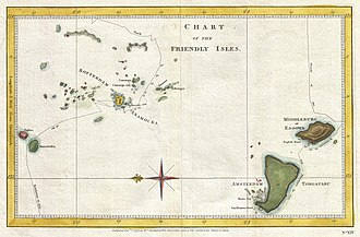 History of Tonga - Cook's map of 1777