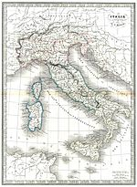 Old map of Italian peninsula