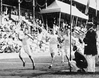 Athletics at the 1912 Summer Olympics – Men's 800 metres - The finish with Ted Meredith setting a new world record.