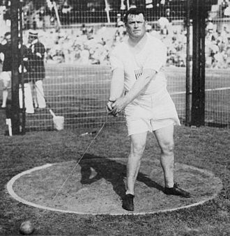 Athletics at the 1912 Summer Olympics – Men's hammer throw - McGrath on the way to win the gold medal.