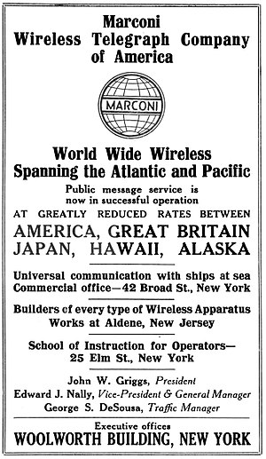 Marconi Wireless Telegraph Company of America - Image: 1917 American Marconi advertisement