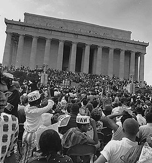 Social change - The Civil Rights Movement in the United States is an example of a social movement. Pictured are marchers at the Lincoln Memorial during the March on Washington for Jobs and Freedom in Washington, D.C. on August 28, 1963.