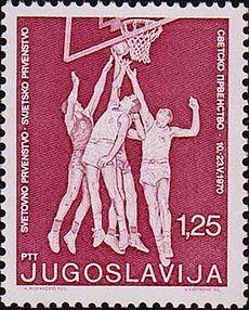 1970 FIBA Mondĉampioneco-stampo de Yugoslavia.jpg