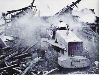 1972 Nicaragua earthquake - Bulldozers shifting the rubble