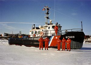 USCGC Swivel ice breaking at Bangor Maine on the Penobscot River in January 1992