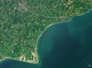 2007 Kent earthquake - Landsat image of the earthquake's epicentre, based on USGS location data which was later revised.