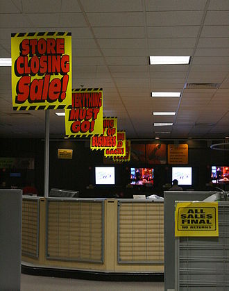 Closeout (sale) - Liquidation sale at Circuit City in Raleigh, North Carolina in February, 2009