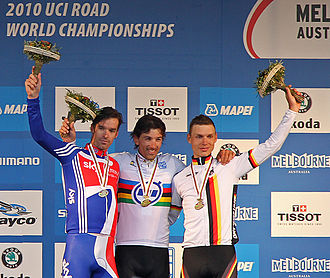 2010 UCI Road World Championships - Image: 2010 World Championships Time Trial Medallists David Millar, Fabian Cancellara, Tony Martin, jjron, 30.09.10