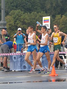 2013 IAAF World Championship in Moscow 50 km Men Walk Ivan NOSKOV, Mikhail RYZHOV and Jared TALLENT.JPG