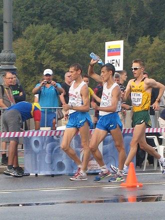 Mikhail Ryzhov (racewalker) - Noskov, Ryzhov and Tallent at 50 km walk race in Moscow