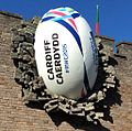 2015 World Cup - Rugby ball at Cardiff Castle (cropped).jpg
