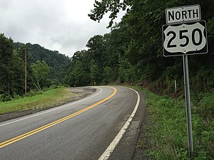 U.S. Route 250 in West Virginia - View north along US 250 in rural northern West Virginia