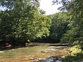 2017-08-19 11 01 19 View northeast up Bull Run from the Bull Run-Occoquan Trail between the Red Trail and the Yellow Trail within Hemlock Overlook Regional Park, in southwestern Fairfax County, Virginia.jpg