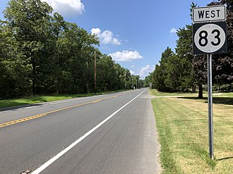 New Jersey Route 83 - View west along Route 83 at CR 608 in Dennis Township