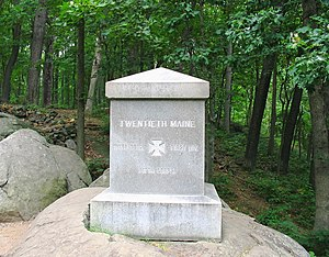 20th Maine Volunteer Infantry Regiment - Regimental monument at the center of their lines on Little Round Top hill.