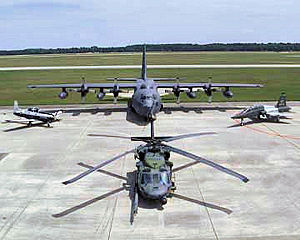 347th Rescue Group - Aircraft of Moody AFB. Shown are the HC-130P (top), T-6 Texan II (left), T-38C (right), and HH-60G (bottom). The HC-130 and HH-60G are used by the 347th Rescue Group, the T-6 and T-38 by the 479th Flying Training Group
