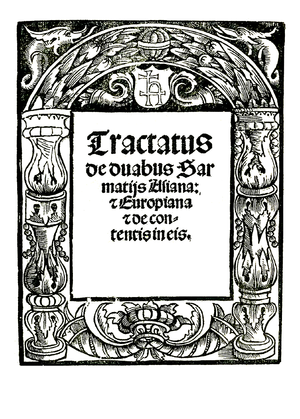 Maciej Miechowita - Title page of the first edition of Miechowita's Tractatus de duabus Sarmatiis