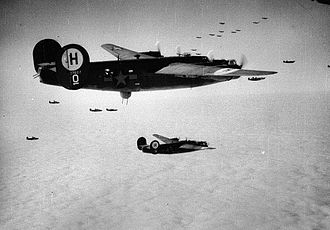 Combat box - B-24s of the 446th Bomb Group fly in combat box formation.