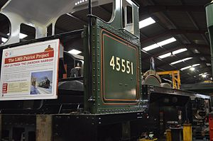 LMS Patriot Class - The chassis of Newbuild LMS Patriot 4-6-0 no 45551 The Unknown Warrior inside the shed at Llangollen.