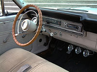 Interior Image Of A 1967 Ford Ranchero With Bench Seat And Three Speed Shifter On The Steering Column