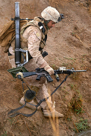 M224 mortar - Image: 6th Marine Rgt. on patrol in Marja 2010 02 22 2