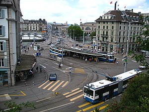 Verkehrsbetriebe Zürich - VBZ trams and buses in central Zürich