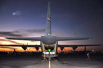 772d Expeditionary Airlift Squadron - A 772 Expeditionary Airlift Squadron C-130J at Kandahar Airfield is loaded with supplies to be airdropped 15 November 2012