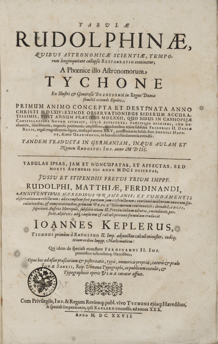 Title page of the Tabulae Rudolphinae, Ulm, 1627 8107-2Keplertp.png