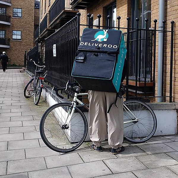 File:A Deliveroo cyclist in London, UK.jpg