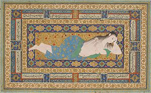 Muraqqa - A Young Lady Reclining After a Bath, Herat 1590s, a single miniature for the muraqqa market