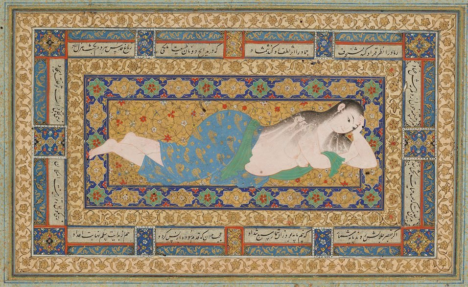 A Young Lady Reclining After a Bath, Leaf from the Read Persian Album Herat (Afghanistan), 1590s. By Muhammad Mu'min MS M.386.5r. Purchased by Pierpont Morgan