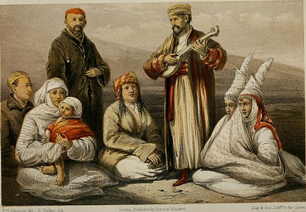 A lithograph Of Kazakhs from Oriental and Western Siberia A group of Kirghiz.jpg