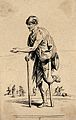 A man in ragged clothing with a wooden stump and a stick is Wellcome V0020413ER.jpg