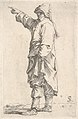 A man wearing a long outer garment and cap pointing to the left, from the series 'Figurine' MET DP832601.jpg