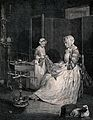 A mother and daughter are working together on a piece of clo Wellcome V0039576.jpg