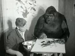 Sophie hanteert verfkwast, Polygoonjournaal, 1959