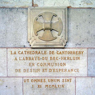 A cross at Bec Abbey commemorating the connection between it and Canterbury. Lanfranc, Anselm, and Theobald were all priors at Bec before serving as primates over England. Abbaye du Bec-Hellouin - croix anglicane.jpg