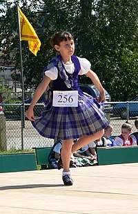 Highland games the dancer is wearing the aboyne dress for females