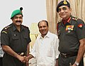 Acclaimed Malayalam film actor Mohan Lal joined the Territorial Army on July 09, 2009 in the rank of an Honorary Lt. Colonel. The Defence Minister, Shri A. K. Antony is seen greeting Shri Mohan Lal soon after his induction.jpg