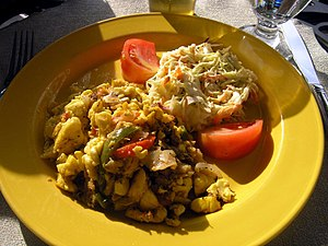 Ackee - Ackee and saltfish, a traditional Jamaican dish