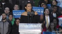 File:Actress Rosario Dawson, Bernie Sanders campaign rally, St Mary's Park, South Bronx, NY, March 31, 2016.webm