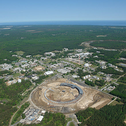Brookhaven National Laboratory is a major US Department of Energy research institution. Aerial View of Brookhaven National Laboratory.jpg