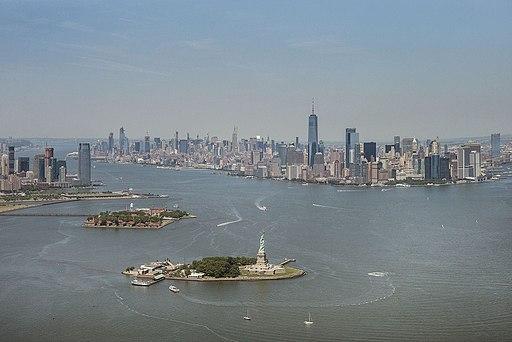 Aerial photograph of New York Harbor-Statue of Liberty-Ellis Island-Manhattan