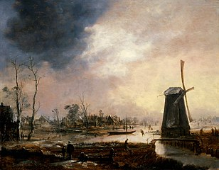 A Winter Landscape with a Windmill